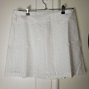 Maison Jules Eyelet White Lined Mini Skirt